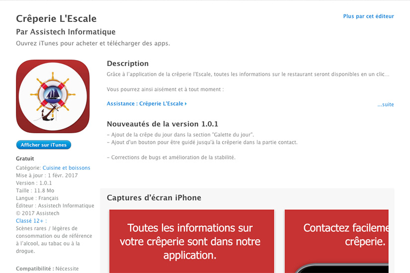Application Crêperie L'Escale